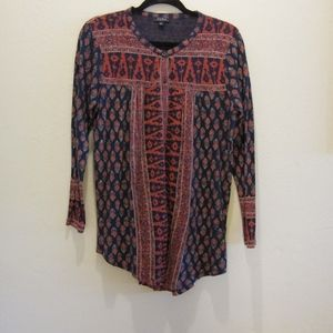 Lucky Brand WoodBlock print peasant top. Size L